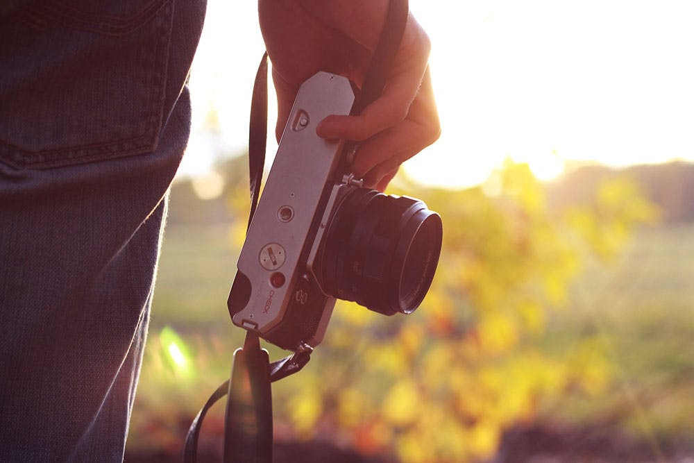 Close up of a standing man's hand holding a vintage camera in front of a blurry field of yellow flowers